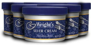 Wright's Silver Cleaner and Polish Cream - 6 Pack - 8 Ounce - Ammonia-Free - Gently Clean and Remove Tarnish Without Scrat...
