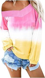 Kiyotoo Womens V Nack Off The Shoulder Long Sleeve Sweatshirt Colorblock Tie Dye Printed Pullover Tops