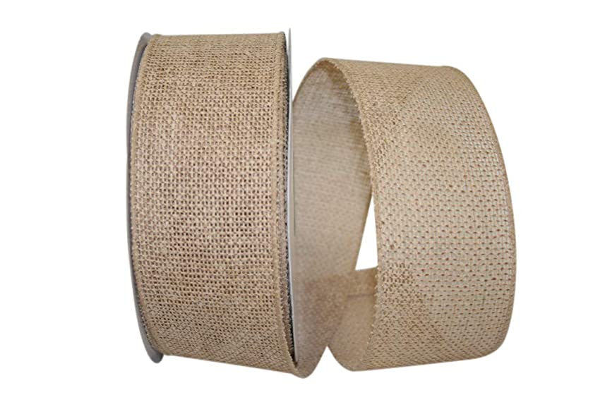 Reliant Ribbon 92694W-750-40J Burlap Value Wired Edge Ribbon, 2-1/2 Inch X 25 Yards, Natural