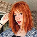 ANDRIA Straight Bob Red Brown Wigs with Bangs Orange Red Wigs Short Bob Wigs With Bangs Wig Glueless Natural Straight Synthetic Heat Resistant Fiber Hair Wig With Bangs for Women 14 Inch