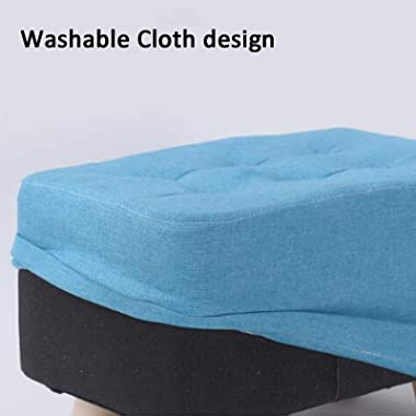 LIXIONG Ottoman, Linen Rectangle Footrest Stool with Storage Bags and Solid Wood Legs Padded Shoes Bench for Hallway Living R