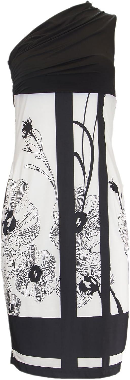 ANALILI Women's Floral Print One Shoulder Sheath Dress XSmall Black White