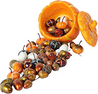 Luyue 55pcs Artificial Mini Pumpkins Decoration Halloween Pumpkin Fake Acorns Harvest Thanksgiving Kit Home Decor Set Vege...