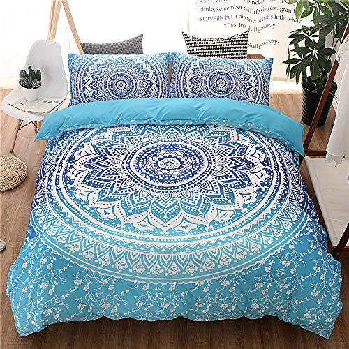 Böhmische Bettbezug-Set Polyester Mikrofaser böhmische Mandala exotischen ethnischen Design Bettwäsche-Sets (Blau, 135 x 200 cm)
