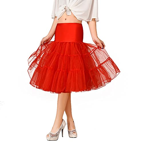 20b1c5b23a OCTOPUSIR Women's Frilly Petticoat Underskirts Knee Length Crinoline 50s  Retro Vintage Fla Tulle Voile Net Skirts