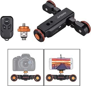 Rakuby 電動電動ドリー 3速調整可能 Andoer ビデオカメラ用台車 スケール表示付き 1800mAh充電式バッテリー ミニ スライダー スケーター Canon Nikon Sony DSLRカメラ用 スマートフォン用 タイムラプス/マクロ/ローアングル ビデオ撮影