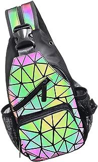 Geometric Backpack Luminous Holographic Purse Color Changes Flash Reflective Bag Fashion Sling Bag for Women Men (Prism)