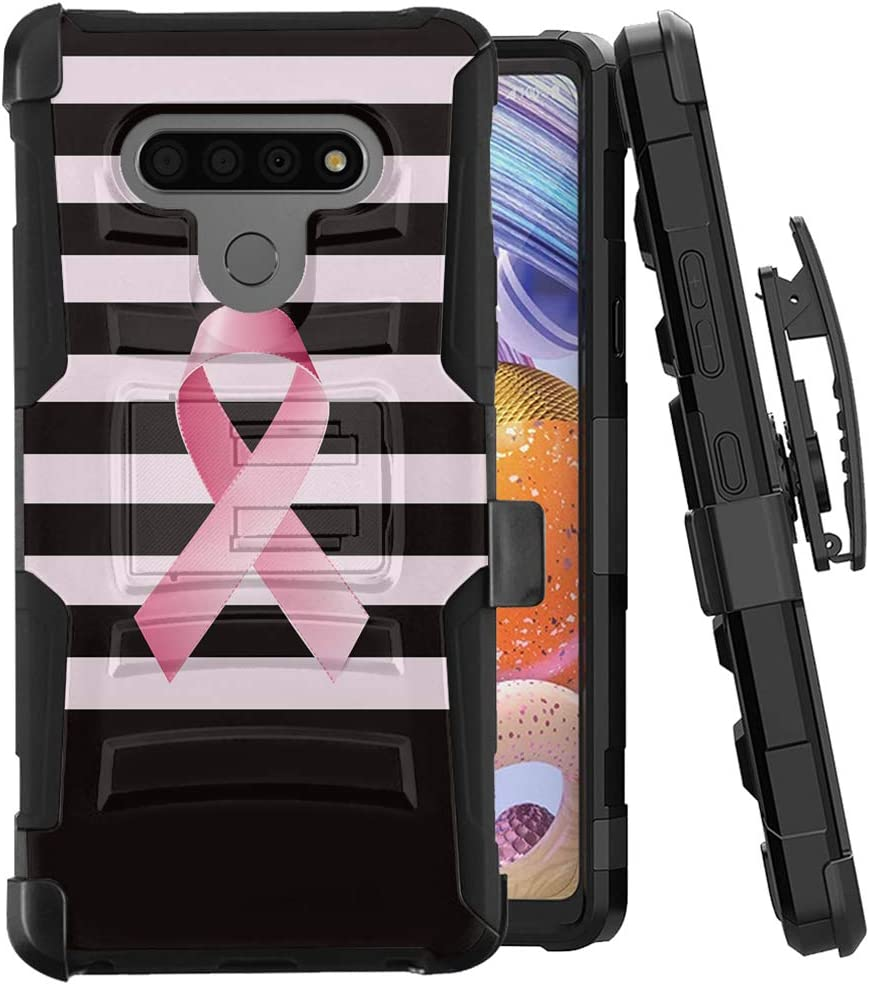 Moriko Case Compatible with LG Stylo 6 [Tough Men Style Shockproof Heavy Duty Full Body Kickstand Belt Clip Holster Black Case Cover] for LG Stylo 6 All Phone Carriers (Breast Cancer Awareness)