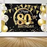 80 Anni Compleanno Festa Decorazioni Oro Nero, 80 Striscione di Compleanno, 80 Anni di Buon Compleanno Decorazione di Festa per Uomo Donna, Poster di Tessuto Sfondo Fotografico 80 Feste di Compleanno