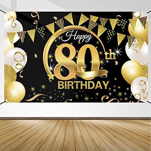 Decoración de Fiesta de 80 Cumpleaños, Extra Grande Póster de Cartel Dorado Negro Materiales de Fiesta de 80 Cumpleaños, Pancarta de Fondo de 80 Aniversario para Foto Prop Fondo