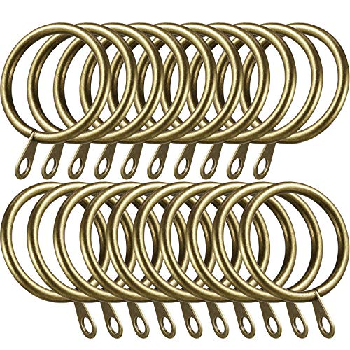 Shappy 20 Piezas de Anillos de Cortina de Metal Anillas Colgante para Cortina y Barras, 30 mm de Diámetro Interno (Latón)