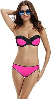 zeraca Women's Color Block Hipster Push up Bikini Bathing Suits