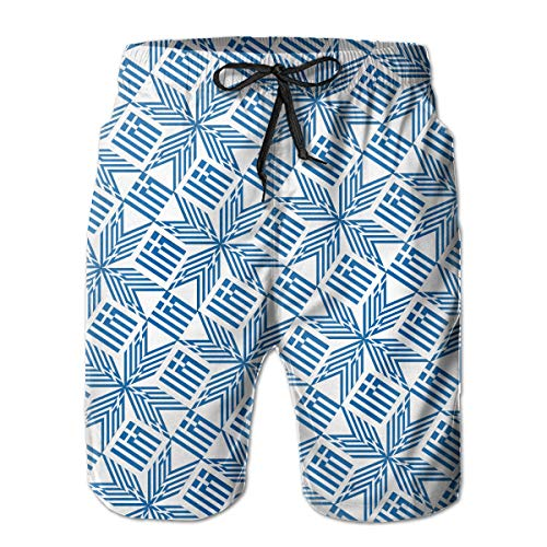 wwoman Herren Badehose Griechenland Flagge Artascope Flower Quick Dry Beach Board Shorts,XXL