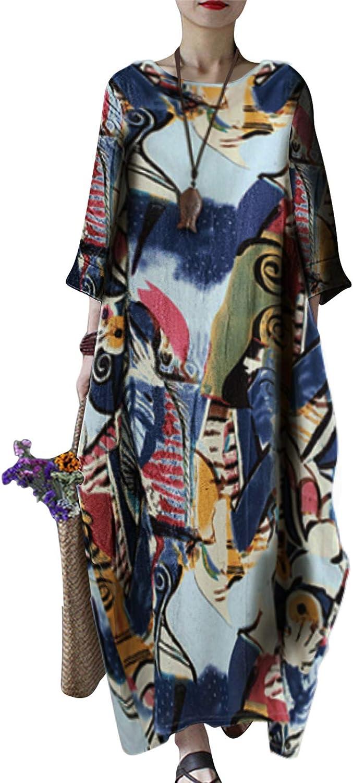 Celmia Women's Kaftan Dresses Round Neck El Paso Mall Sleeve 4 Cotton 3 Dress Brand Cheap Sale Venue