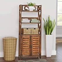 MOUYOU Large Bathroom Storage Cabinet with 2 Doors and 3 Tags 46 x 24 x 117.5 cm Brown
