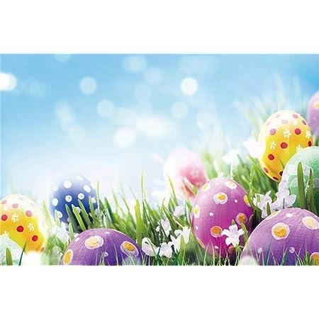 10X6.5FT-Children Blue Wood Photography Backdrops Easter Eggs Chick Childrens Portrait Photo Studio Background