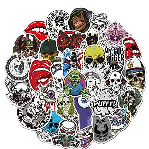 WYZDGTD 50 Uds / 2 Juegos Terror Series Skull Graffiti Stickers Guitar Laptop Skateboard Equipaje Impermeable Cool Graffiti Stickers Kid Toys