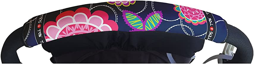 Tris&Ton Fundas empuñaduras horizontales Modelo Floral Rosa, empuñadura funda para silla de paseo cochecito carrito carro (Tris y Ton) (Rosa)