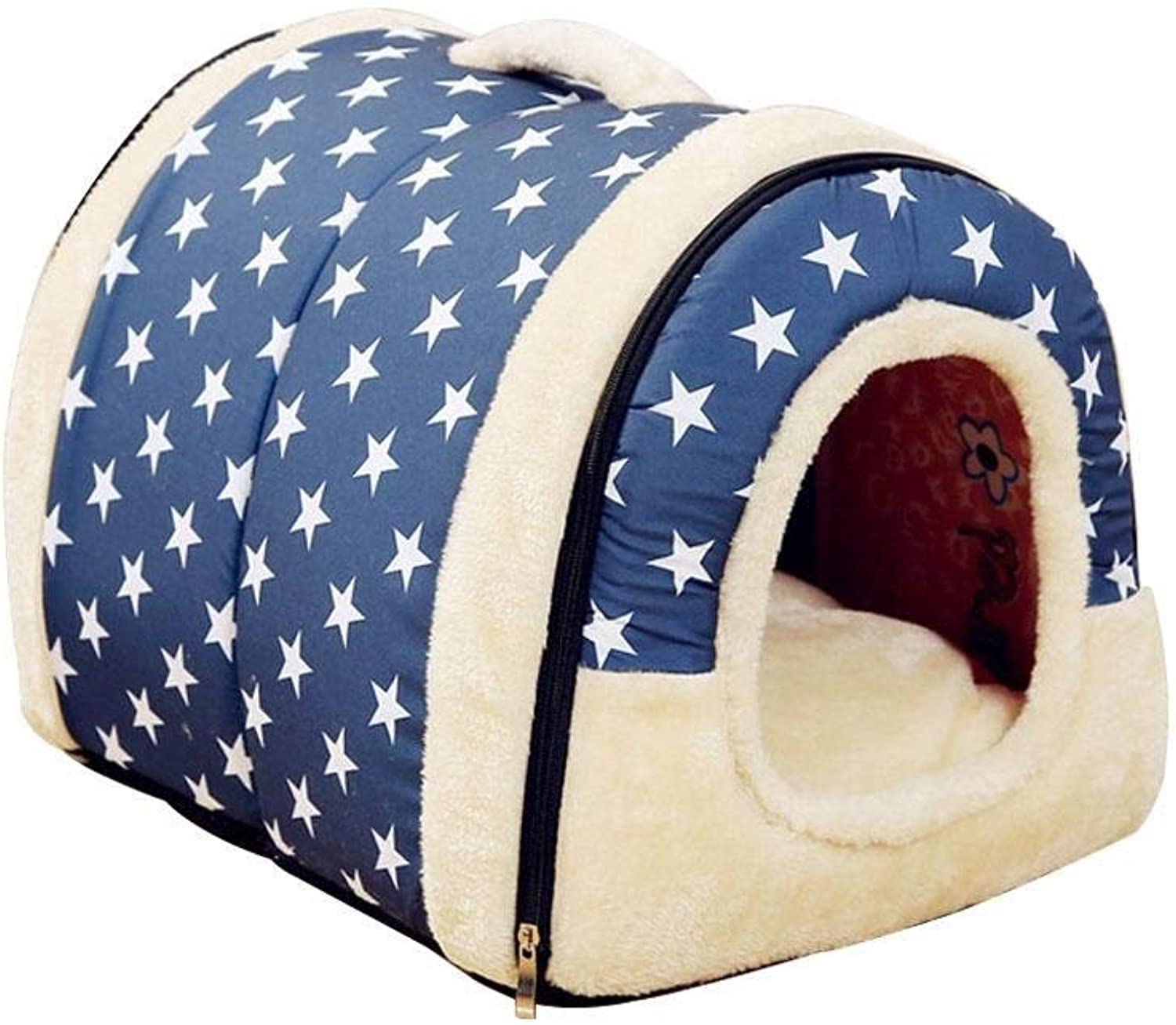 CHONGWFS Indoor Outdoor Pet Home Dog Beds Soft Warm Star Pattern 2 in 1 Pet House and Sofa,Dog Cat Bed Foldable Winter Soft Cozy Sleeping Bag Mat (color   C, Size   L)
