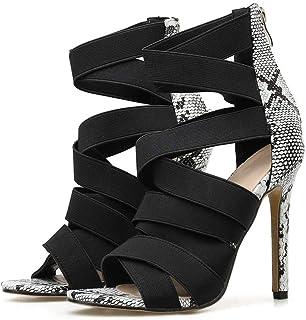 2020 Stiletto Women Pumps Serpentine Ribbon Hollow Out Mixed Colors Open Toe High Heels PU Zipper Ladies Sandals Kizomba S...
