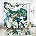 "ArtSocket 4 Pcs Shower Curtain Set octopus sea animal color blue marine life underwater aquarium colorful creature mollusk with Non-Slip Rugs Toilet Lid Cover and Bath Mat Bathroom Decor Set 72"" x 72"""