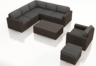 Harmonia Living HL-ARD-CH-8SEC-CC 8 Piece Arden Sectional Set, Canvas Charcoal Cushions