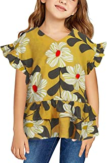 Ivay Girls Floral V Neck Blouses Toddler Baby Flutter Sleeve Ruffle Cute Tunic Tops