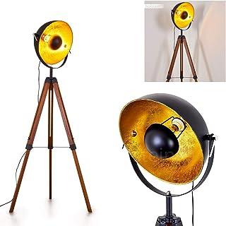 Lampadaire Jupiter en bois et métal noir & or, projecteur rétro-industriel avec interrupteur sur le câble, idéal dans un s...