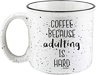 Shop4Ever Funny Gift for Coffee Lover Coffee Because Adulting is Hard Novelty Campfire Speckled Ceramic Coffee Mug Tea Cup ~ (Speckled, 15 oz.)