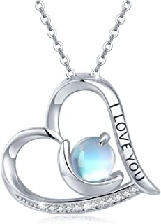 I Love You Necklace 925 Sterling Silver Heart Moonstone Necklace Engraved Necklace Moon Pendant I Love You Gifts for Her I...