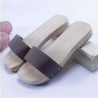 ZCPCS Zapatos de Madera Retro de Verano Tradicionales Hechos a Mano de Madera sin Madera, Zapatillas de Madera (Color : 12...