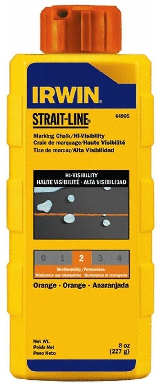 Irwin 64905 Strait-Line 8-oz Hi-Visibility Marking Chalk - Fluorescent Orange