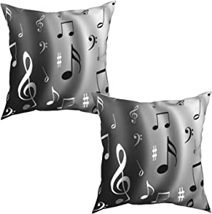 Hierceson Music Notes Decorative Throw Pillow Covers 18x18 Set of 2 Square Couch Pillows Cushion Cover, Holiday Home Sofa Chair Car Bedroom Outdoor Patio Decor