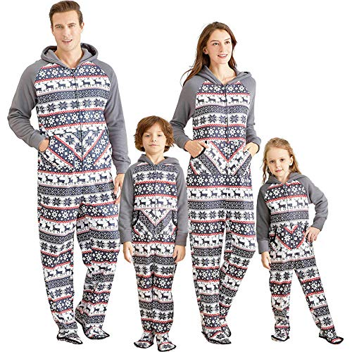 IFFEI Matching Family Footed Pajamas Hoodie Sleeper Christmas PJ's Festival Snowflake Plush Cozy Warm Onesie Kids: 8-9 Years Grey