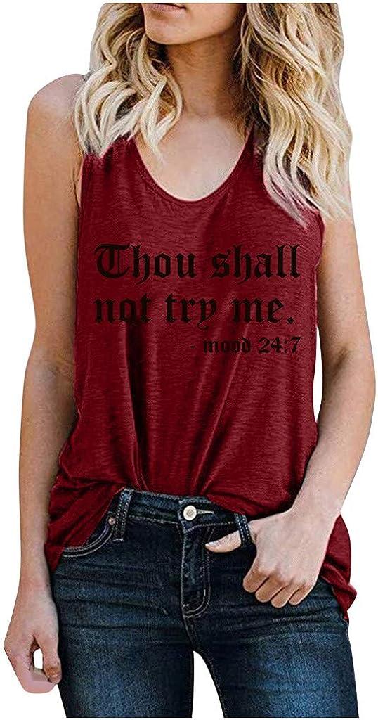 Women Sleeveless Workout Tank Tops Stretch Yoga Racerback Athletic Loose Basic Cami Tops Fashion Print Tee Shirt