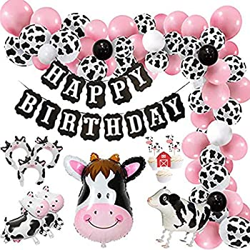 Finypa Funny Cow Party Decorations Balloon 85pcs Arch Garland Kit with Happy Birthday Banner Cow Print Balloons Baby Pink Balloons Walking Cow Mylar Balloon for Farm Birthday Party Farm Animal Theme Party