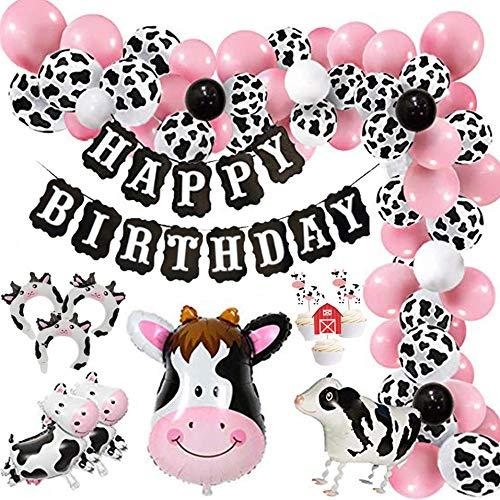 Finypa Kuh Party Luftballons, 86 Stück Bauernhof Party Luftballons Satz von Kuh Ballons, Luftballons Rosa, Airwalker Ballon Kuh und Folienballons Kuh für Bauernhof Party, Bauernhof Geburtstagsparty