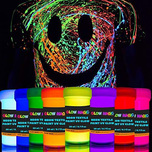 individuall UV Textilfarben Set | 8 Waschfeste Neon Stoffmalfarben | Schwarzlicht Farbe zum T-Shirt & Stoff bemalen | 8 x 20 ml