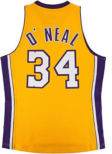 Amazon.com : Shaquille O'Neal Los Angeles Lakers NBA Mitchell ...
