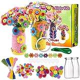 Kit di fiori per bambini,Fiori di feltro,Craft Kit Bambini,DIY Bottoni Colorati per Decorare,Kit di Fiori Artigianali per Bambini,Creative per Bambini DIY Vaso (1)