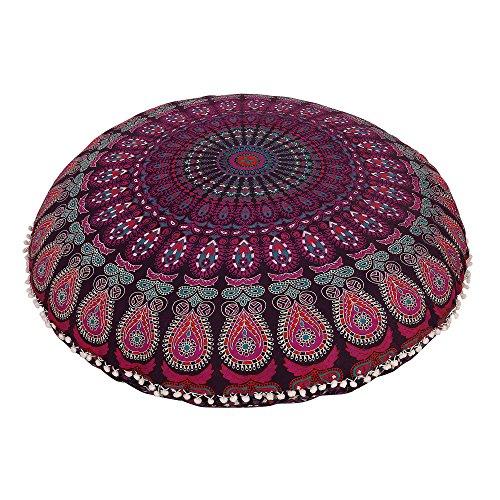 Radhykrishnafashions Indian 32' Large Hippie Mandala Floor Pillow Cover - Cushion Cover - Pouf Cover Round Bohemian Yoga Decor Floor Cushion Case (LAVENDRA)