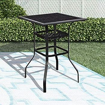 LOKATSE HOME High Outdoor Patio Bar Height Glass Top Table Black
