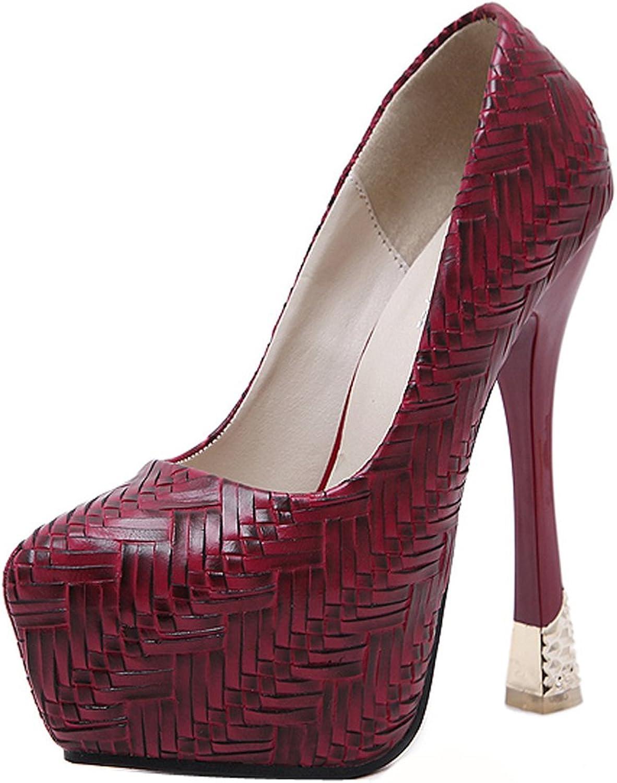 Ladola Womens Dress Platform Low-Cut Uppers Metal Urethane Pumps shoes