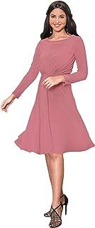 KOH KOH Long Sleeve Semi Formal Flowy Party Work Knee Length Midi Dresses