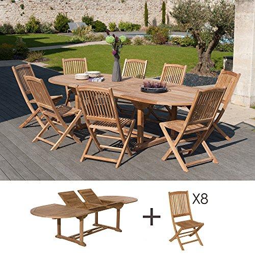 MACABANE 501093 Salon de Jardin Couleur Brut en Teck Dimension 200/300cm X 120cm X 75cm