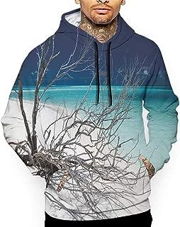 Hoodies SweatshirtAutumn Winter Driftwood,Seascape Theme Driftwood on The White Sandy Beach Coastal Digital Image,Turquoise and Blue Sweatshirt Blanket