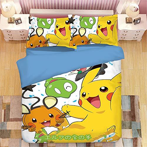 Pokemon Pikachu Juego de ropa de cama para niños, con cremallera, muy suave y cómodo, 1 funda nórdica + 1 funda de almohada (5,200 x 200 cm + 50 x 75 cm)