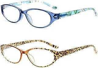 VEVESMUNDO Retro Reading Glasses Women Men Floral Small Oval Spring Hinges Presbyopic Eyeglasses Readers Spectacles 1.0 1.5 2.0 2.5 3.0 3.5 Leopard Blue