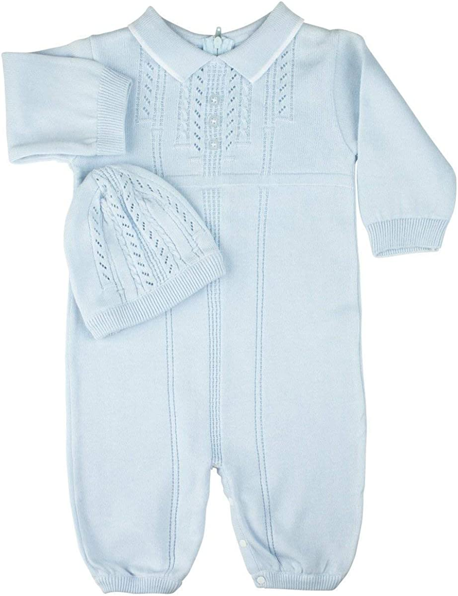 Boys Blue Knit Take Max 40% OFF Colorado Springs Mall Home Layette with Hat Set