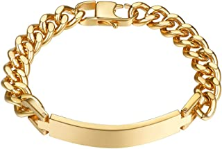 Free Engraving - Stainless Steel Bracelet, Black/18K Gold Plated, Personalized Custom ID Bracelet for Men Women